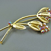 SALE SALE Weiss Long Stemmed Floral Brooch ~ Aurora Borealis Red Chatons