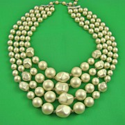 SALE White Satin Imitation Pearl Necklace ~ Signed