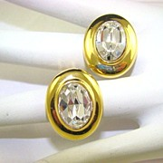SALE Givenchy Paris~New York Gold Plated Crystal Evening Earrings