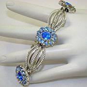 SALE Stunning 1938 Coro Craft Pegasus Blue Rhinestone Bracelet