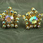 SALE Glamourous 1950s Aurora Borealis Rhinestone Earrings ~Atomic