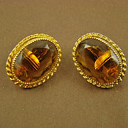 SALE Emmons Amber Glass and Gold Tone Earrings