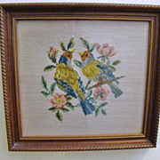 SALE Old Framed Needlepoint Picture ~ Birds and Flowers