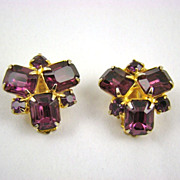 SALE Deep, Dark Amethyst Rhinestone Earrings