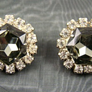 SALE Black Diamond Rhinestone Evening Earrings