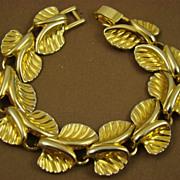 SALE Detailed Gold Tone Leaf Bracelet