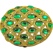 SALE Art Deco Style Emerald Glass & Rhinestone Brooch by Bellini