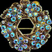 SALE Large Two-Dimensional Delizza & Elster Juliana Brooch ~ Topaz and Aurora Borealis Blue