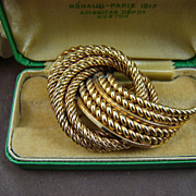 SALE Grosse Germany Gold Plated Twisted Rope Brooch ~ 1967