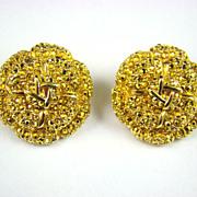 SALE Glittering St. John Evening Earrings ~Comet Aurum Rhinestones
