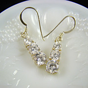 SALE Sterling French Wire Drop Anniversary Earrings ~ Cubic Zirconia