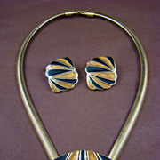 SALE Classic Trifari Gold and Black Enamel Demi Parure