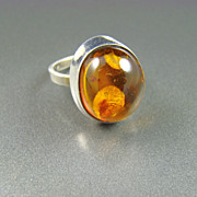 SALE Sterling and Collet Set Honey Amber Ring