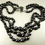 SALE Stunning Austrian Black Crystal Necklace