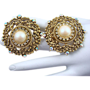 SALE Stunning Victorian Inspired Richelieu Imitation Pearl and Clear Chaton Earrings