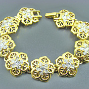 SALE Nina Ricci Gold Plated Clear Chaton Evening Bracelet