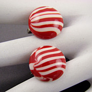 SALE Red and White Peppermint Striped Button Earrings