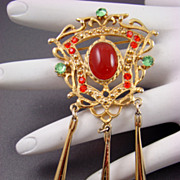 SALE Large Asian Dangle Brooch with Glass Cabochon
