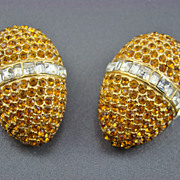 SALE Vintage Heidi Daus for Jim Walters Rhinestone Egg Shaped Evening Earrings