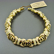 SALE Peach and Cream Enamel Gold Plated Bracelet with Tag ~ D'Orlan