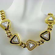 SALE Exquisite Swarovski Crystal and Gold Plated Evening Necklace ~ S.A.L.
