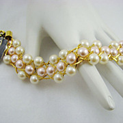 SALE Vintage Trifari Bracelet with Original Tag ~ Imitation Pearl