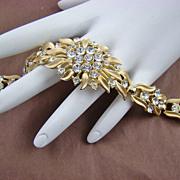 SALE Spectacular Crown Trifari Rhinestone Gold Plated Evening Bracelet