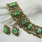 SALE Vintage Peacock Foil Glass Wide Panel Bracelet and Earrings