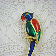 SALE Giovanni Enamel Parrot Brooch