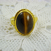 SALE Rare Unsigned Vendome Tiger's Eye Ring ~ Patent No. 2,961,855