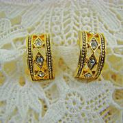 SALE Gold Tone and Rhinestone Half Hoop Earrings