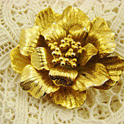 SALE Four-Dimensional Gold Tone Floral Brooch