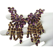 SALE Ann-Vien Rare Exquisite Amethyst Rhinestone Runway Earrings