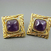 SALE Givenchy Dark Plum Baroque Cabochon Gold Plated Earrings ~ New York ~ Paris