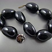 SALE Ralph Lauren Bold Glossy Black Eggplant Shaped Ceramic Necklace