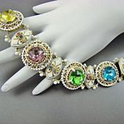 SALE Victorian Revival Style Bookchain Enameled Bracelet ~Large Foiled Back Stones