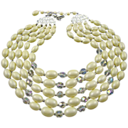 SALE Elegant Oval White Satin and Faceted Clear Bead Five-Strand Necklace