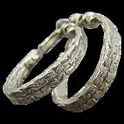 SALE Goldette Oval Hoop Earrings in Silver Tone