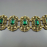 SALE Spectacular Victorian Revival Emerald Glass and Imitation Pearl Bracelet