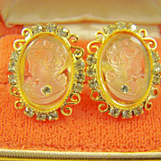 SALE Celebrity Frosted Cameo with Rhinestone Earrings