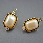 SALE Imitation Pearl Earrings with Rhinestone