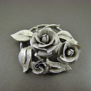 SALE Satin Finished Silver Tone Rose Brooch