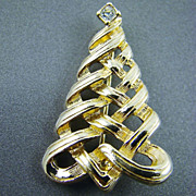 SALE Designer Signed Christmas Tree Brooch with Rhinestone
