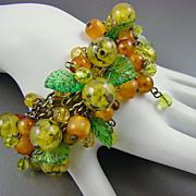 SALE Stunning Carmen Miranda Style Art Glass Fruit Salad Cha Cha Bracelet