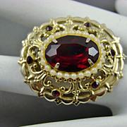 SALE Coro Pegasus Adolf Katz Design Ruby Red Rhinestone Brooch