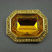 SALE Honey Amber and Comet Aurum Stone Brooch