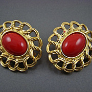 SALE Spectacular 1960s Trifari Lipstick Red Glass Cabochon Earrings