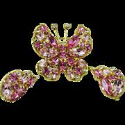 SALE La Roco Pink Rhinestone Butterfly Demi Parure ~ Mint
