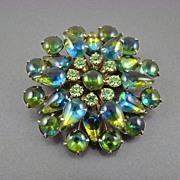 SALE Stunning Blue Green Sabrina Rhinestone Tiered Brooch