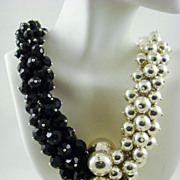 SALE Classic Runway Necklace in Silver Tone and Black Beads